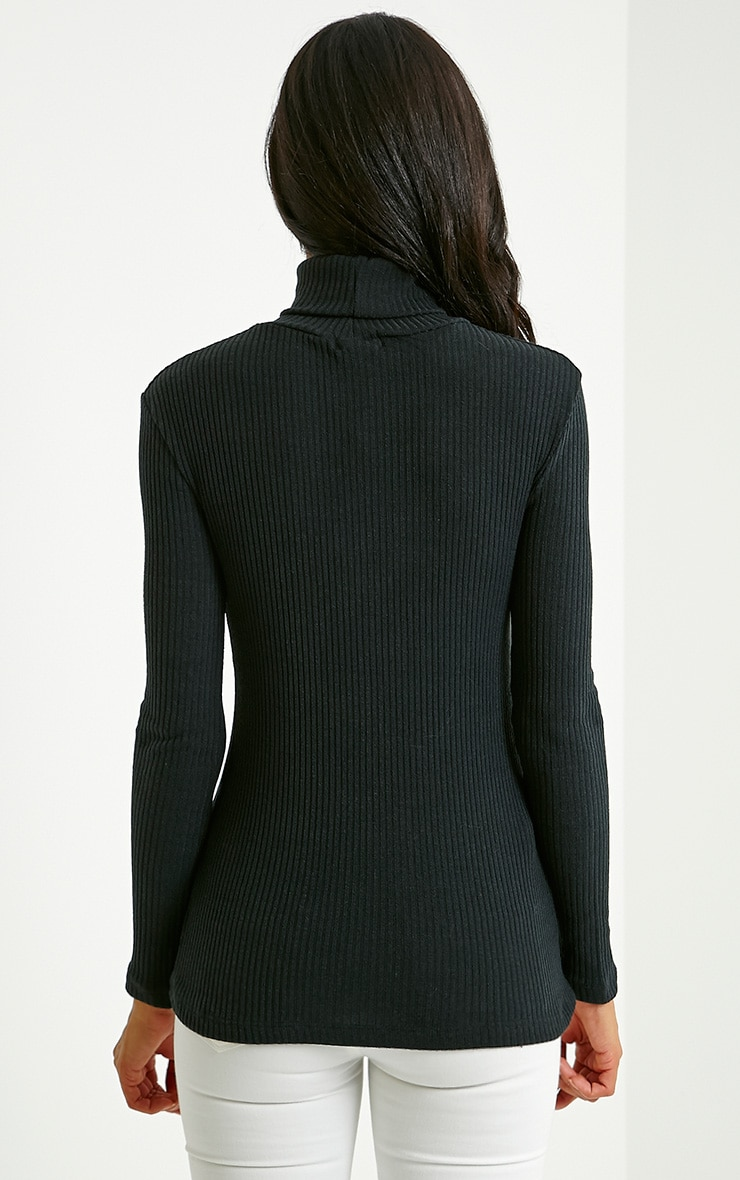 Rica Black Ribbed Roll Neck Top 2