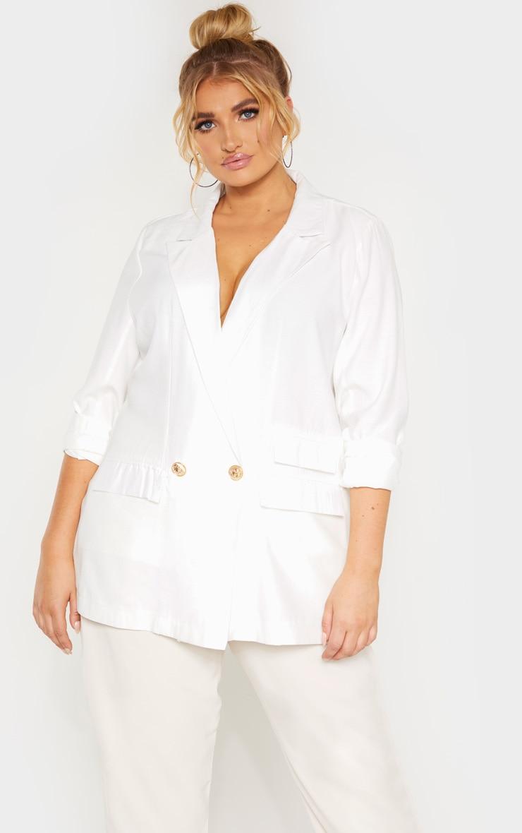 Plus White Woven Gold Button Oversized Blazer  1