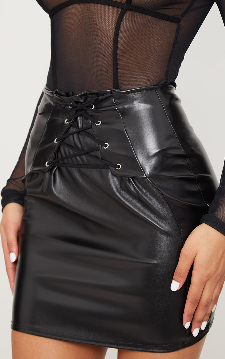 Black Lace Up Front Faux Leather Mini Skirt  6
