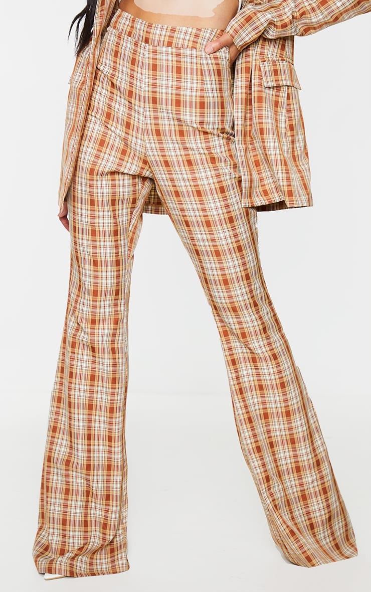 Multi Check Print Extreme Flare Trousers 2