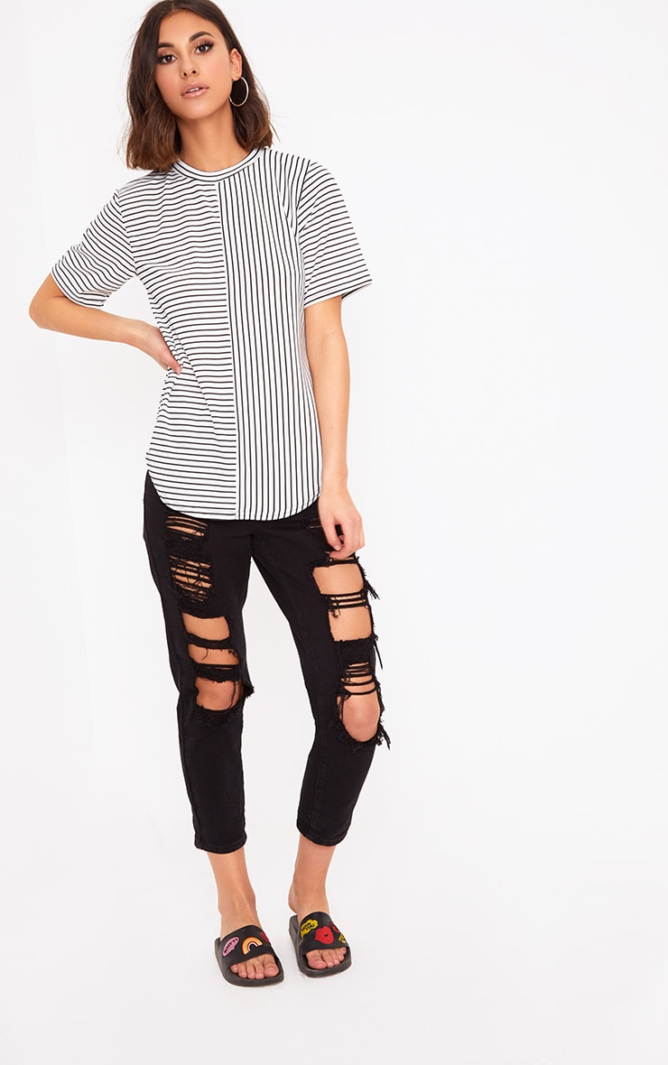 White Contrast Stripe Ribbed T Shirt 4