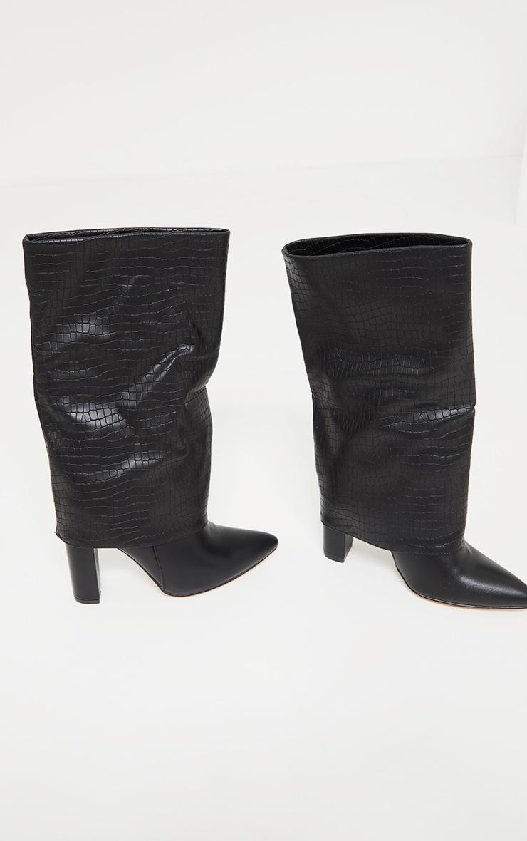 Black Wide Fit Fold Over Block Heel Knee Boots 4
