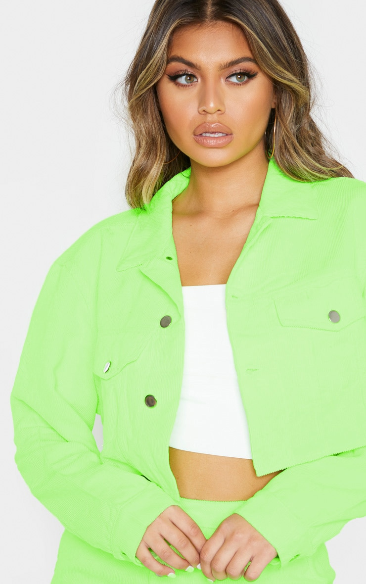 Neon Lime Cord Button Down Skirt 4
