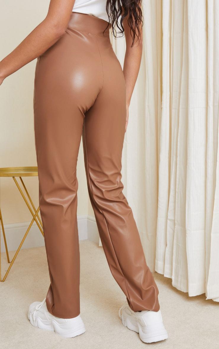 Stone Dip Waist Straight Leg Faux Leather Pants 3