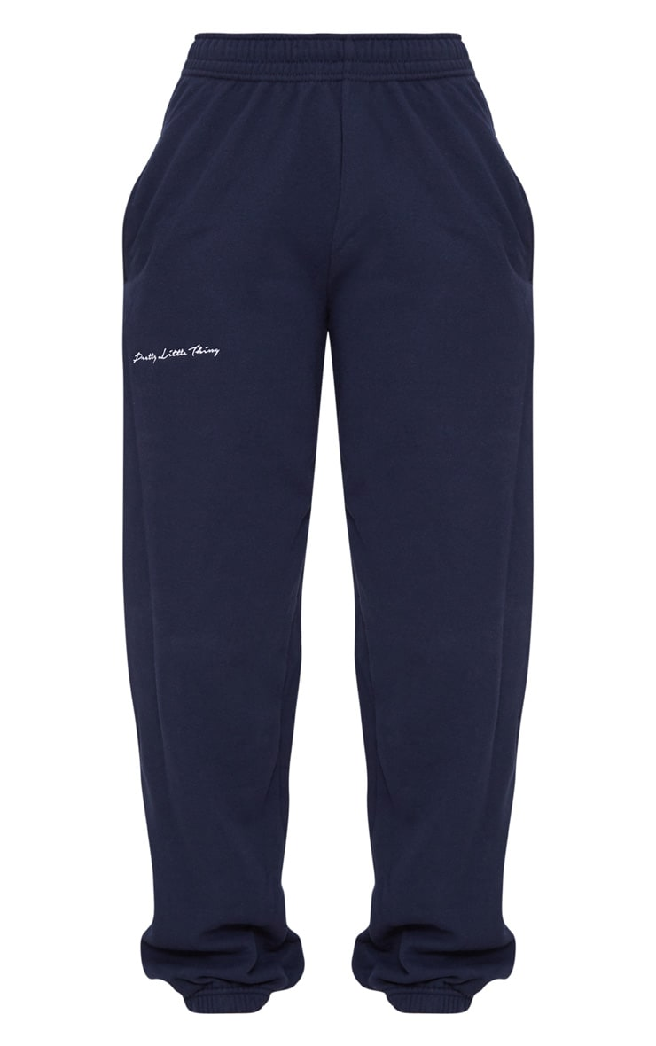 PRETTYLITTLETHING Navy Embroidered Jogger 3