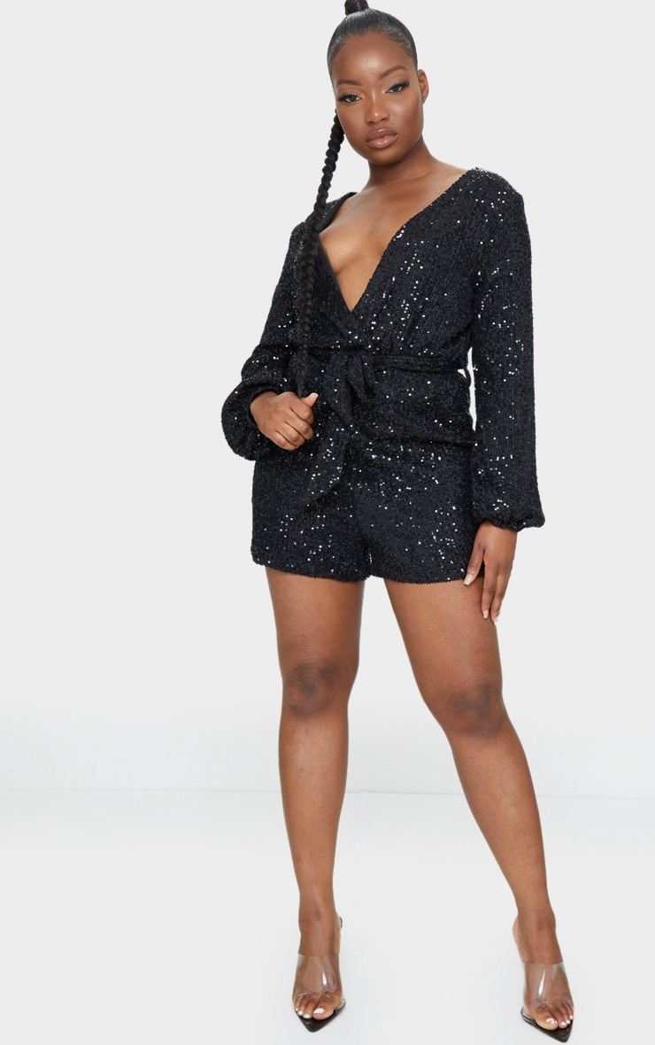Petite Black Balloon Sleeve Sequin Romper 3