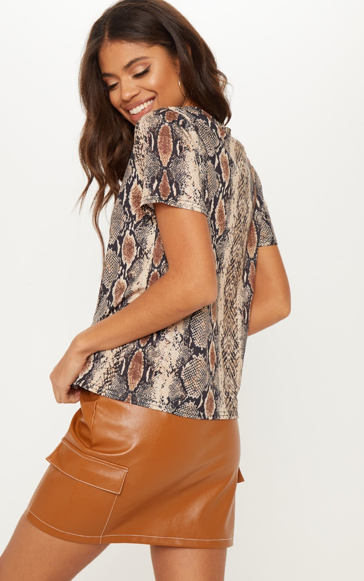 Brown Snake Print T Shirt 2