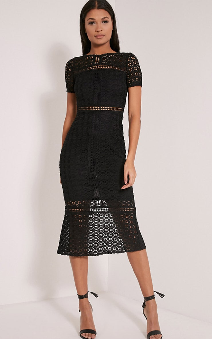 Midira Black Crochet Lace Midi Dress 1