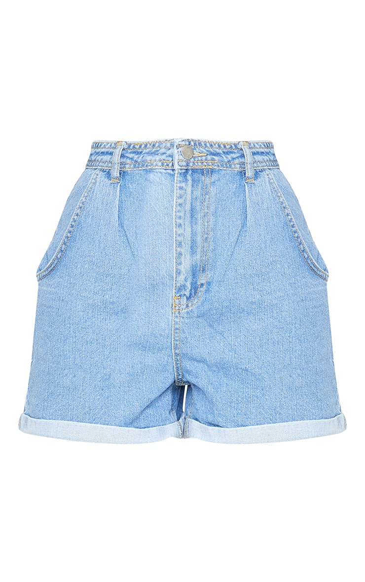Blue Mid Wash Balloon Shorts 6