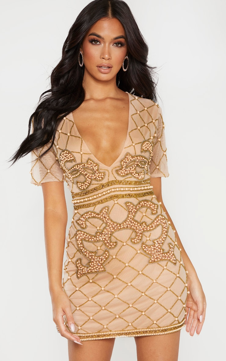 Nude Embellished Beaded Plunge Bodycon Dress 1