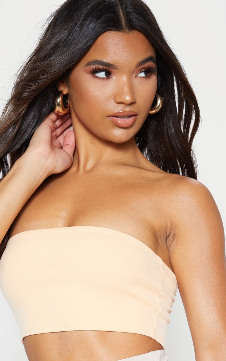 Peach Crepe Bandeau Crop Top 5