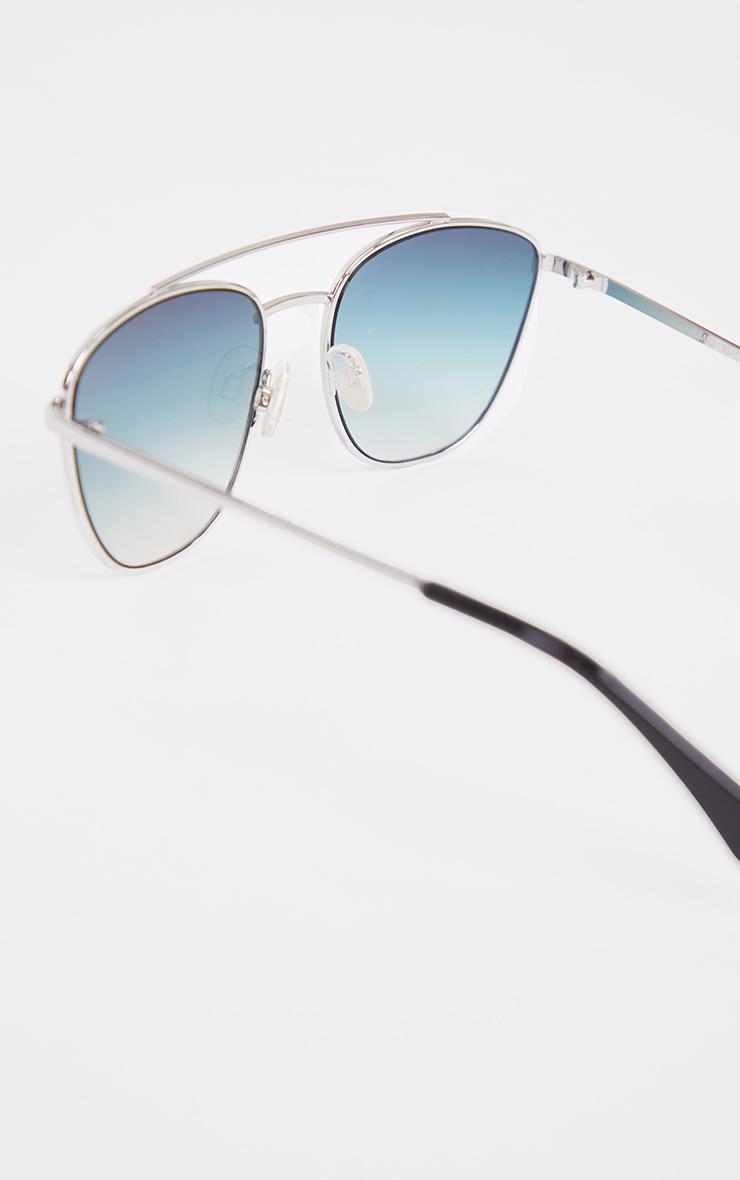 Blue Fade Cut Out Brow Bar Aviator Sunglasses 3