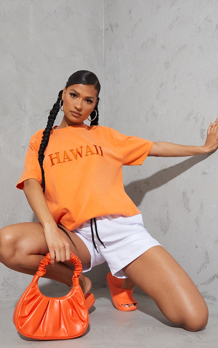 Tangerine Hawaii Embroidered Washed T Shirt 1