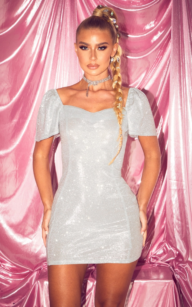 Silver Glitter Puff Sleeve Low Back Bodycon Dress 2