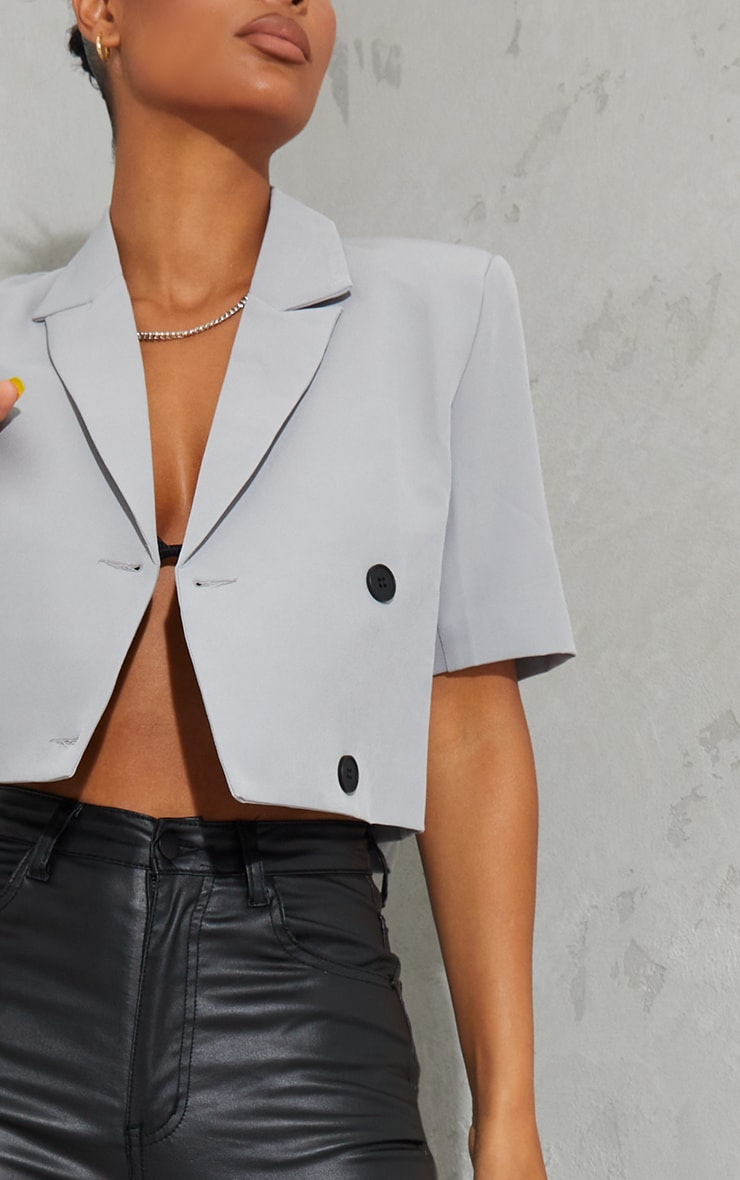Grey Woven Double Breasted Cropped Short Sleeve Blazer 4