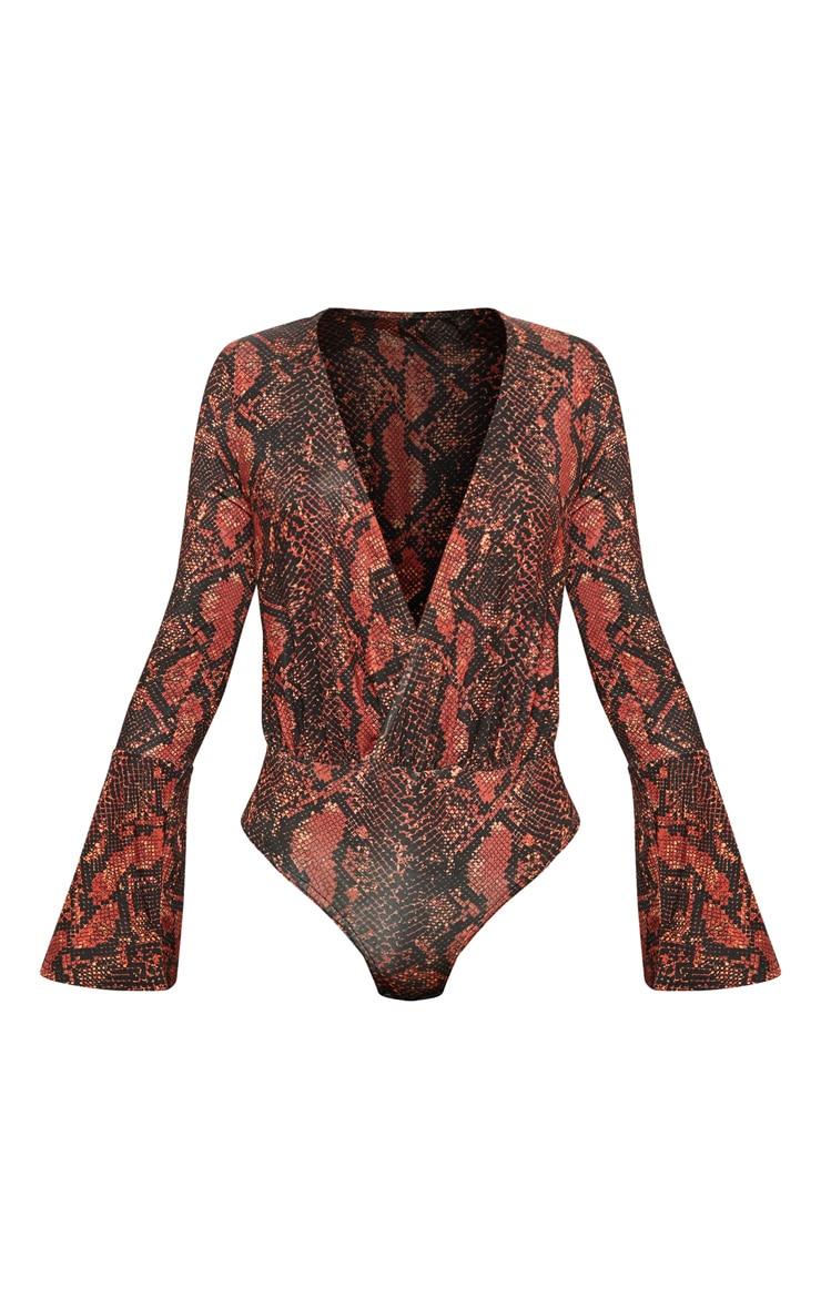 Orange Snake Flared Sleeve Plunge Bodysuit 3