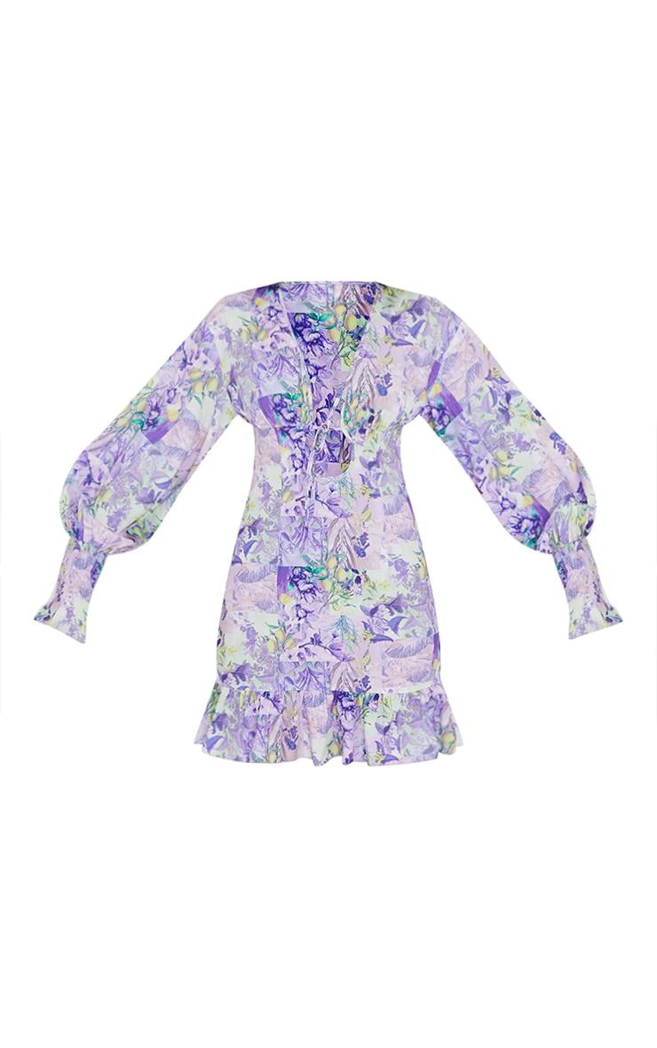 Blue Floral Tie Front Detail Frill Hem Shift Dress 5