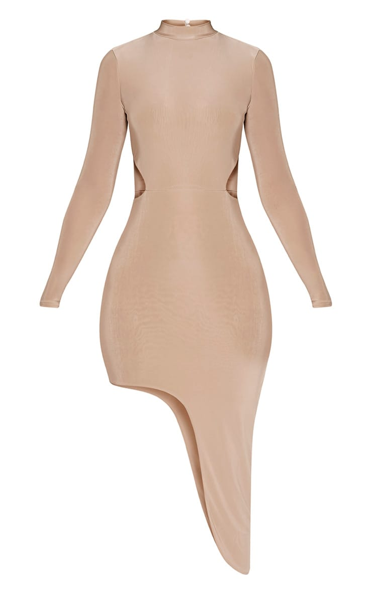 Avia Nude Cut Out Asymmetric Midi Dress 3
