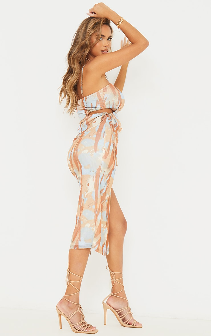 Multi Abstract Print Mesh Strappy Waist Cut Out Midaxi Dress 2