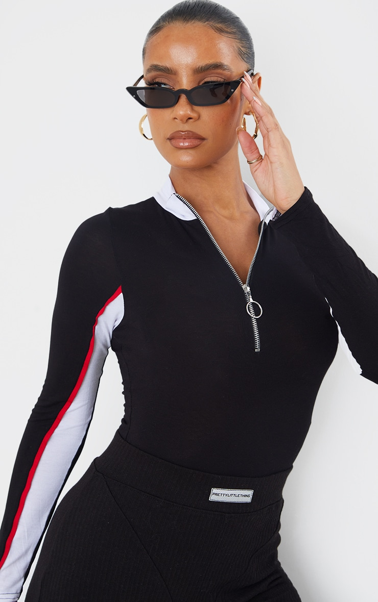 Black Sport Zip Front Long Sleeve Thong Bodysuit  4