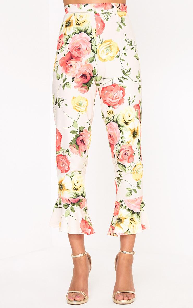 Stone Floral Print Flare Hem Trousers 2