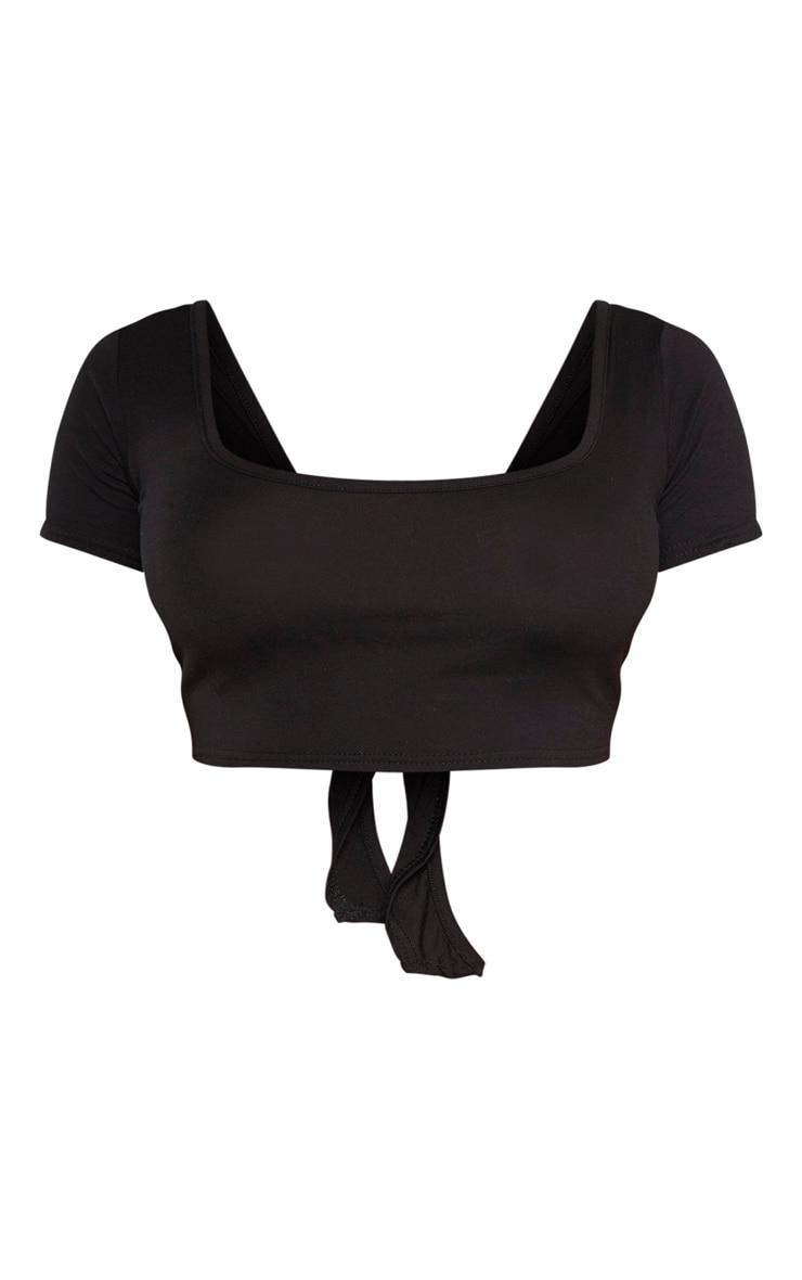 Shape - Crop top manches courtes en jersey noir à dos noué 3