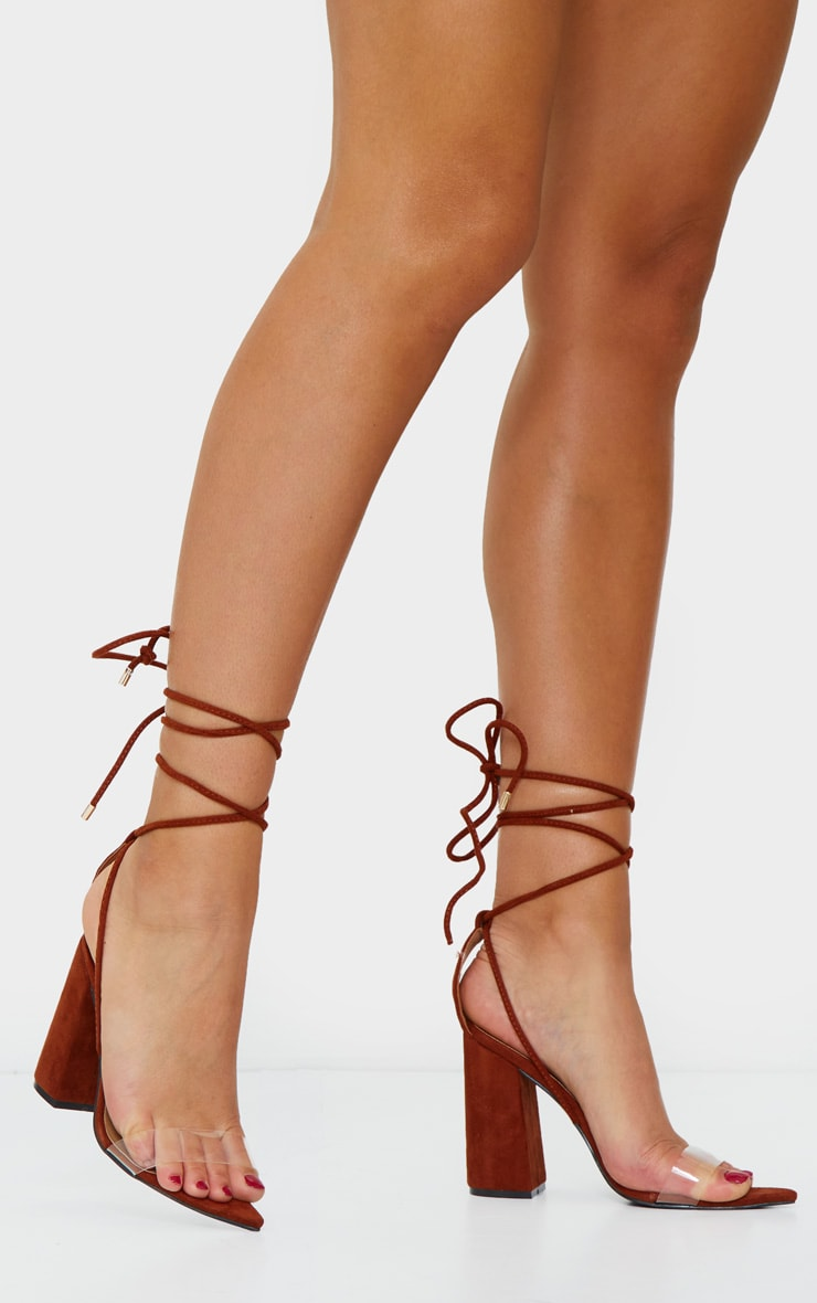 Rust Ankle Lace Up Block Heel Point Toe Sandal 1