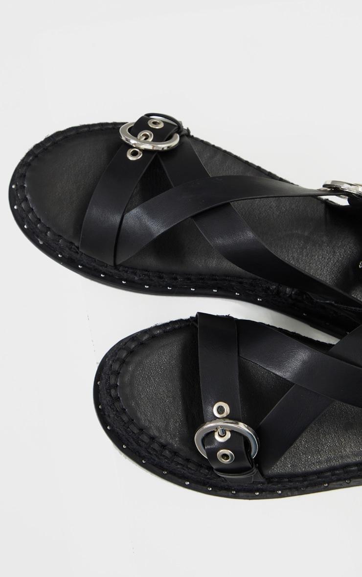 Black Espadrille Flatform Gladiator Sandals 4