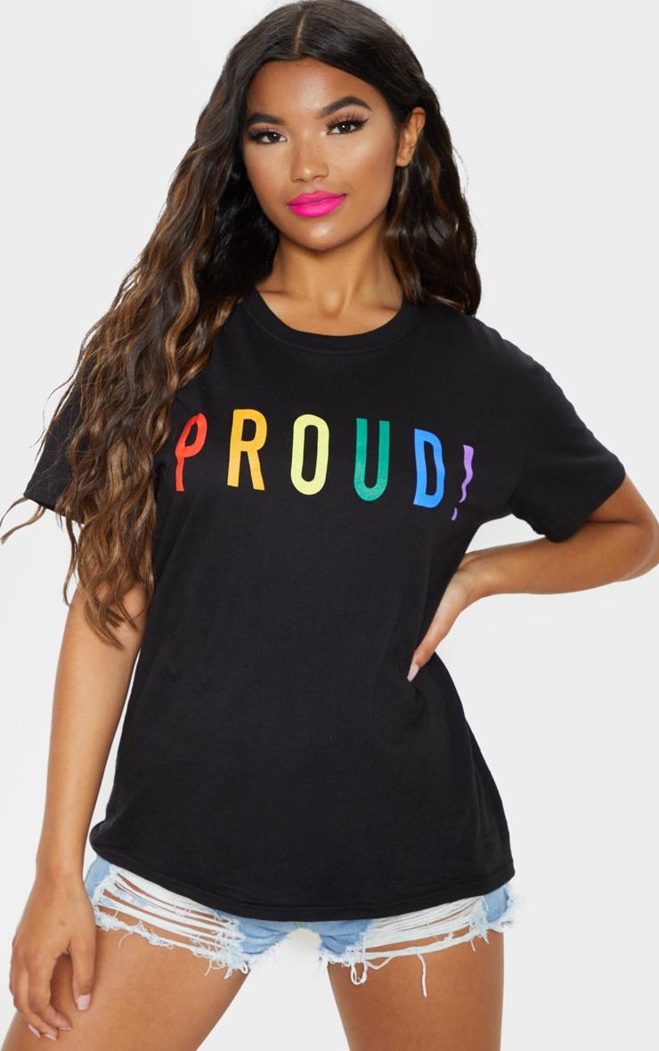 UNISEX Black PROUD Oversized T-shirt 2
