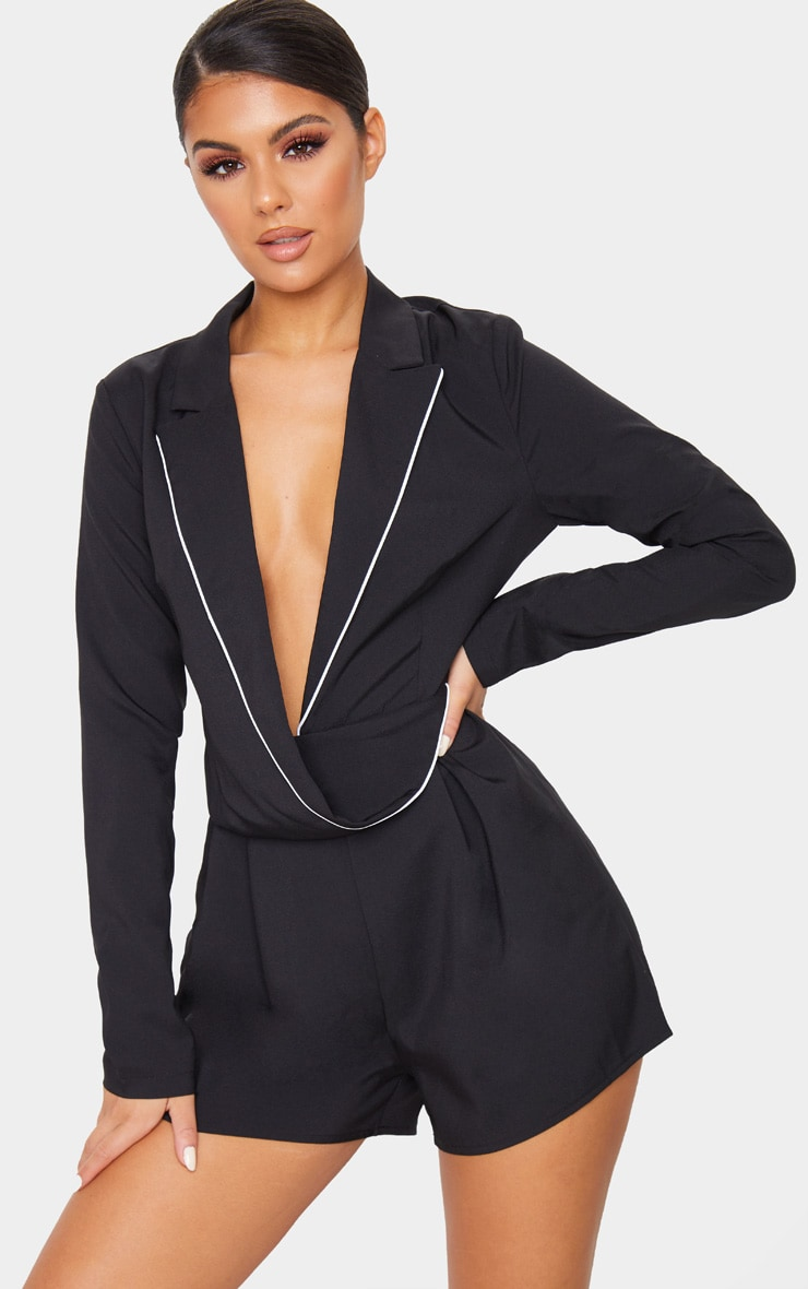 Black Piping Detail Draped Blazer Playsuit 3