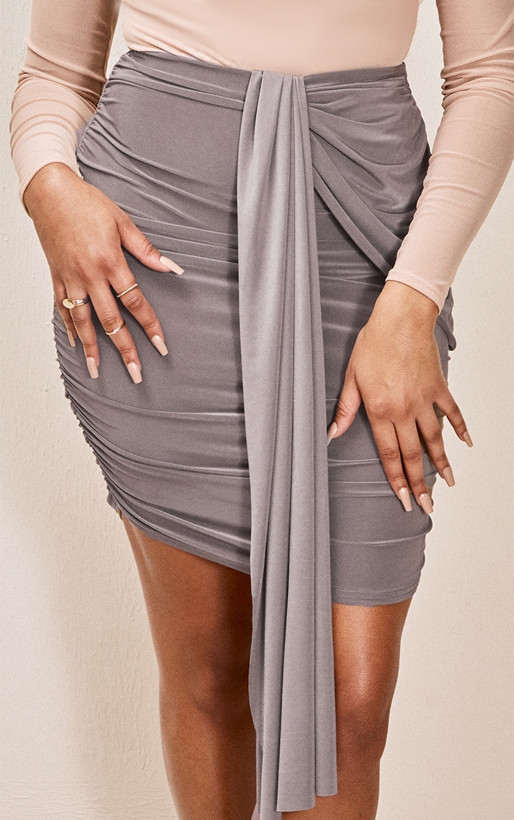Taupe Slinky Foldover Ruched Mini Skirt 5