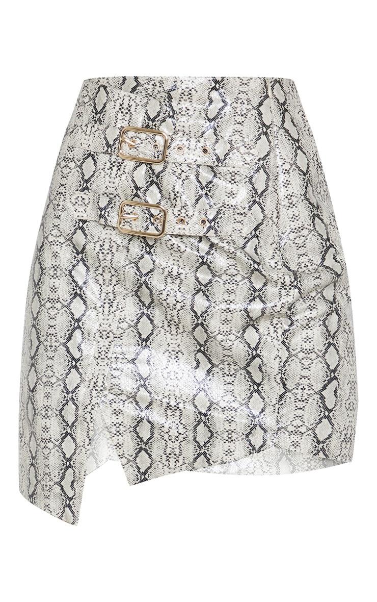 Cream Faux Leather Snakeskin Buckle Detail Mini Skirt 3