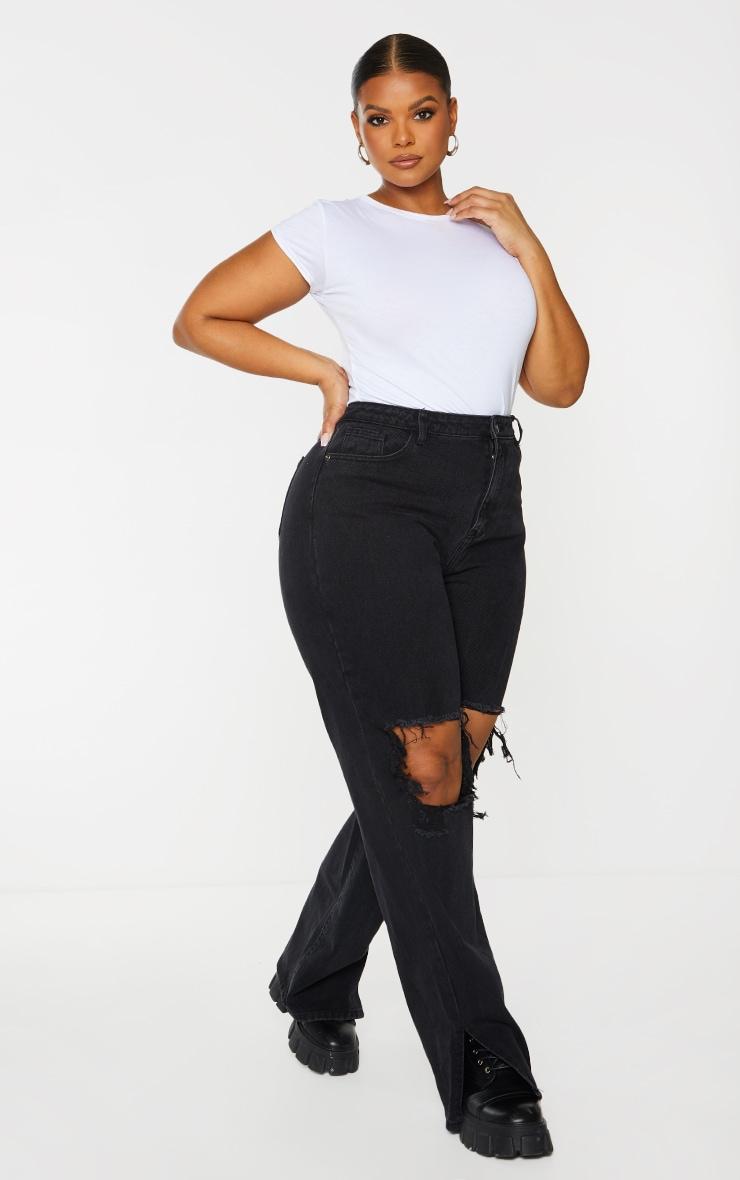 Plus Black Distressed Knee Split Hem Jeans 1