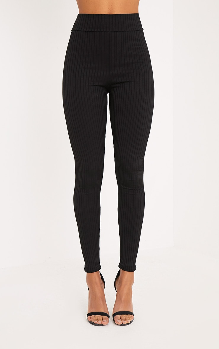 Harlie Black Ribbed High Waisted Leggings 2