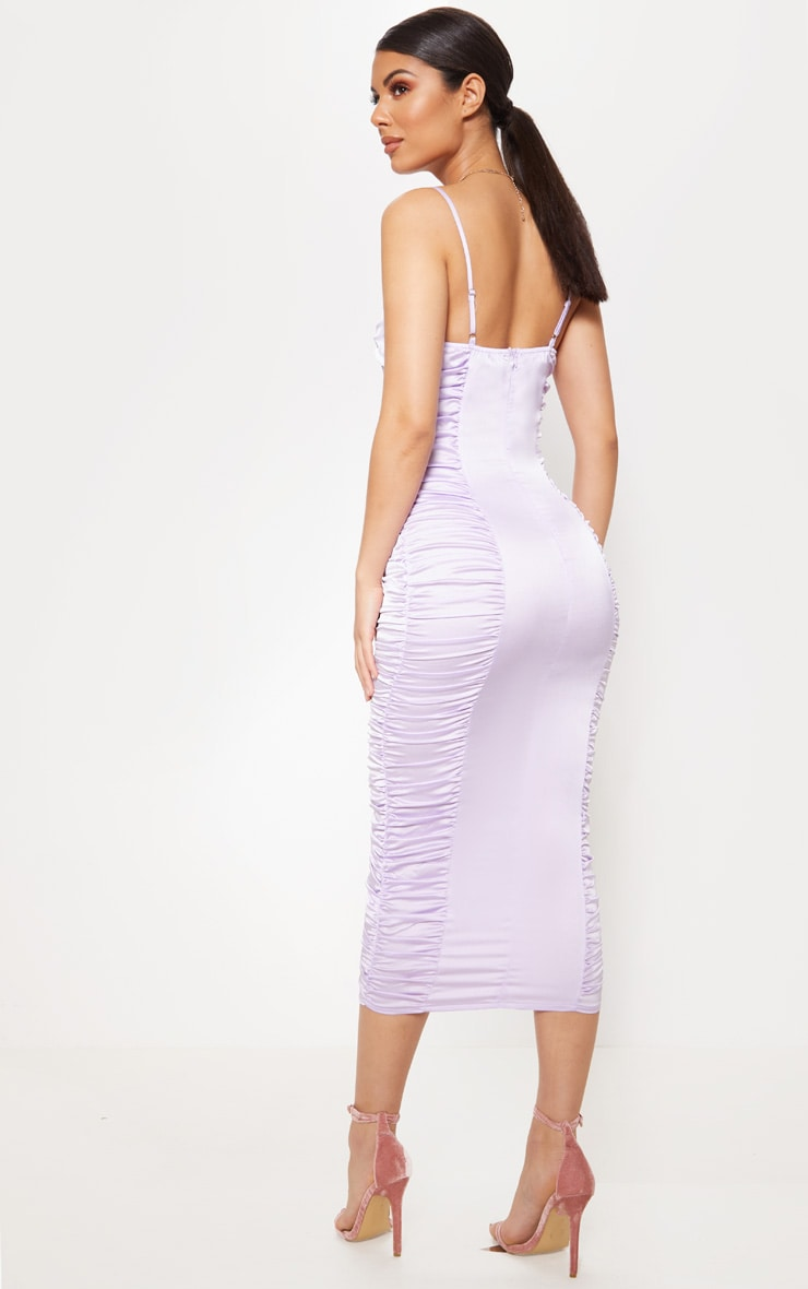 Lilac Satin Ruched Midaxi Dress 2