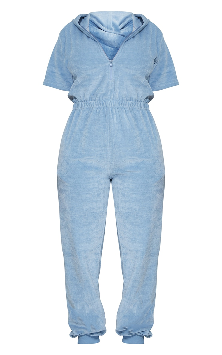 PRETTYLITTLETHING Shape Baby Blue Embroidered Velour Hooded Jumpsuit 5