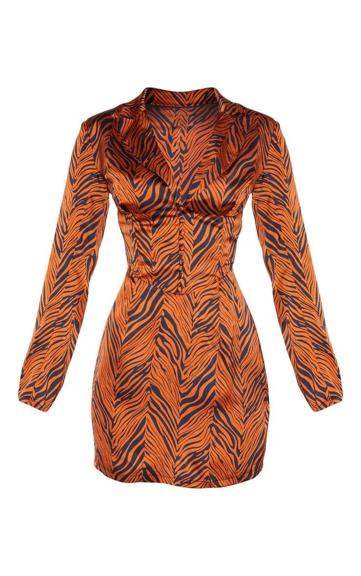Rust Zebra Print Satin Button Corset Detail Blazer Dress 3