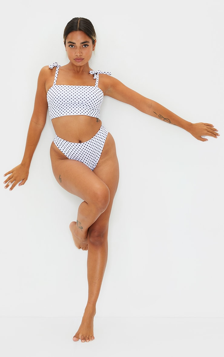 Petite White Polka Dot Tie Strap Bikini Top 3