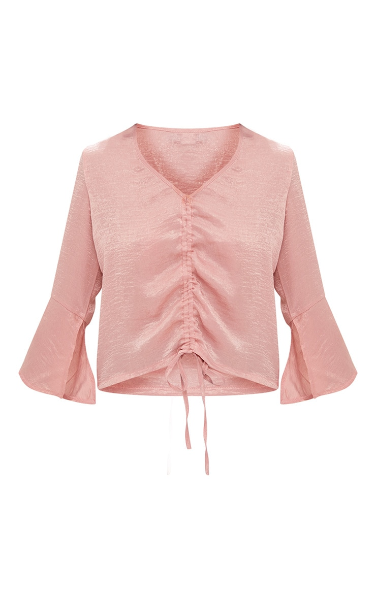 Pink Ruched Front Frill Sleeve Satin Top  3