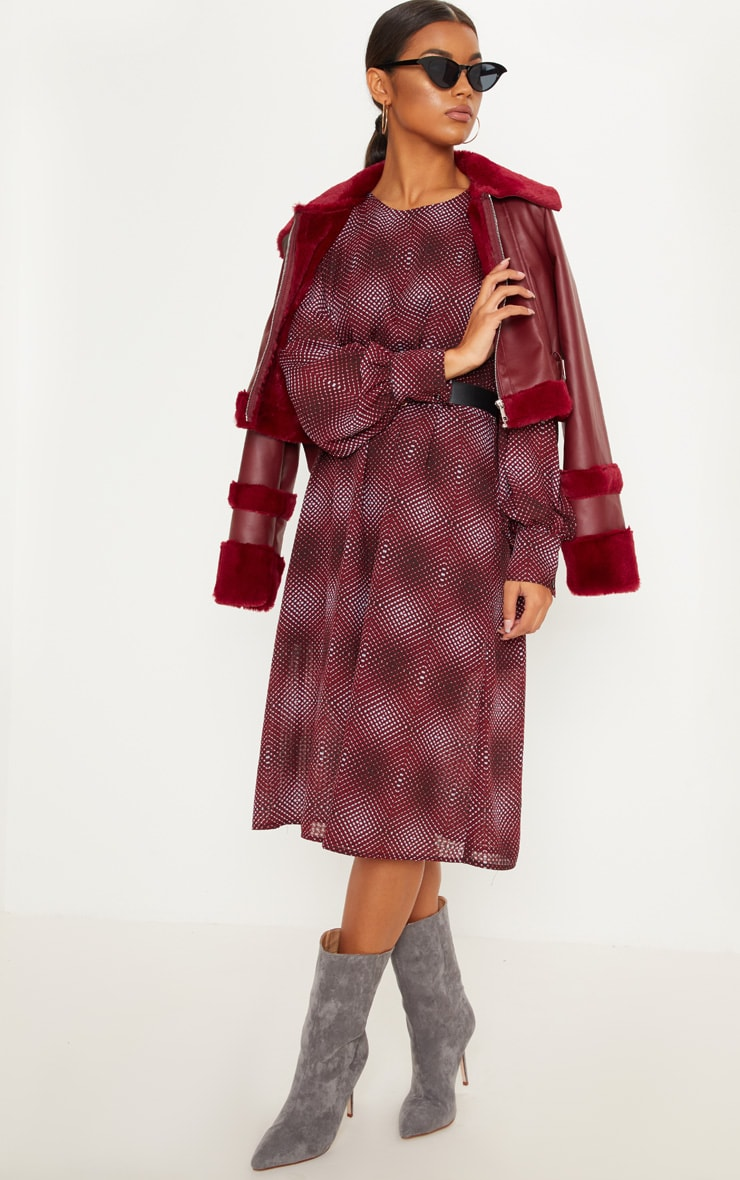 Burgundy Geometric Printed Midi Shift Dress 1