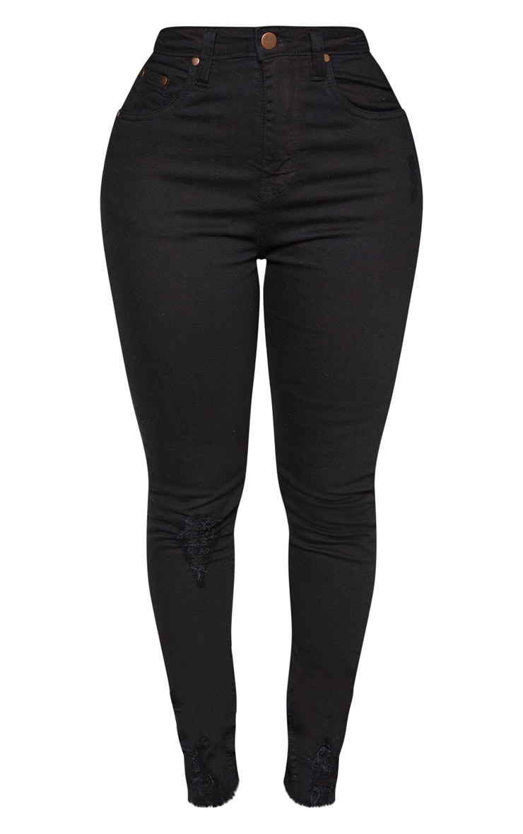 Shape Black High Waisted Distressed Cuff Jeans 3