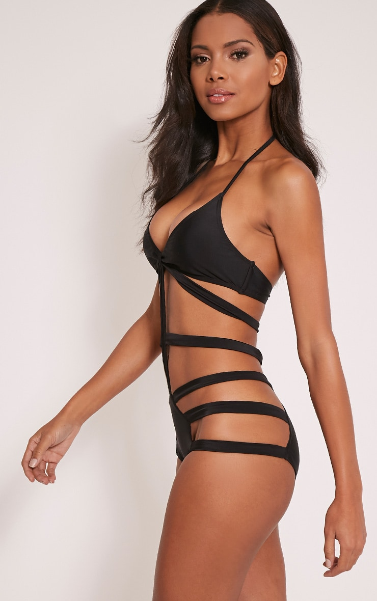 Adriana Black Cut Out Swimsuit 4