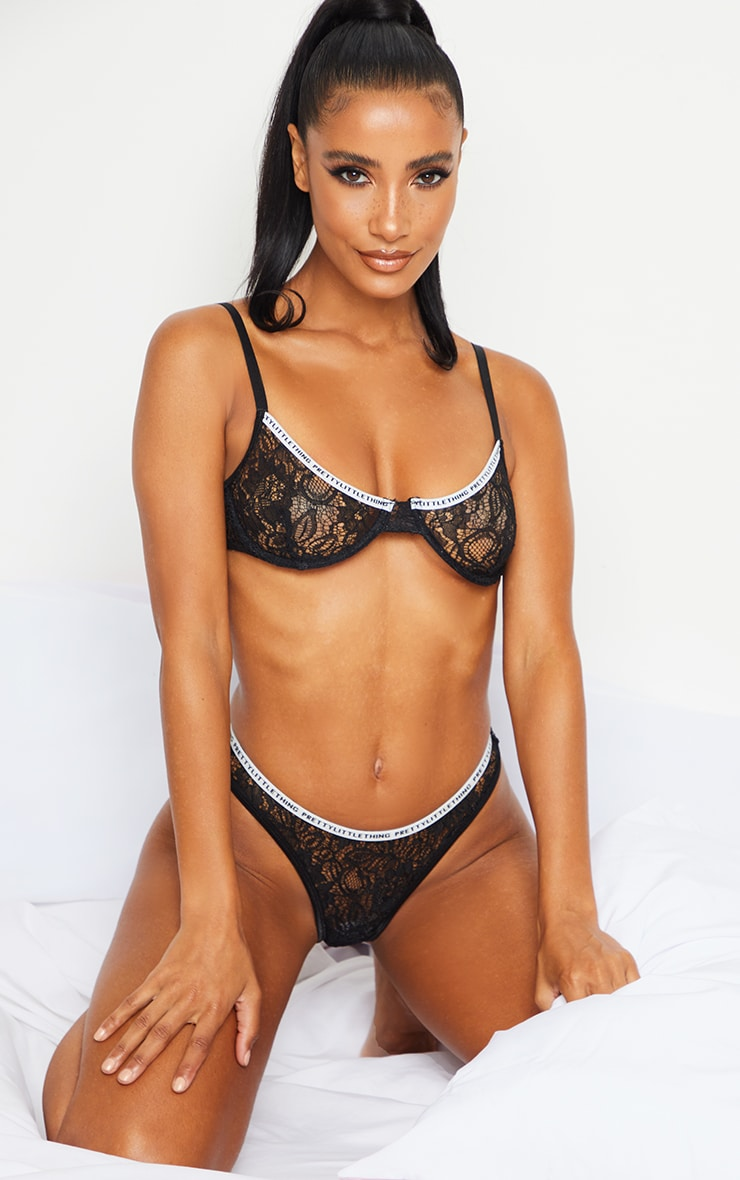 PRETTYLITTLETHING Black Floral Lace Thong 4