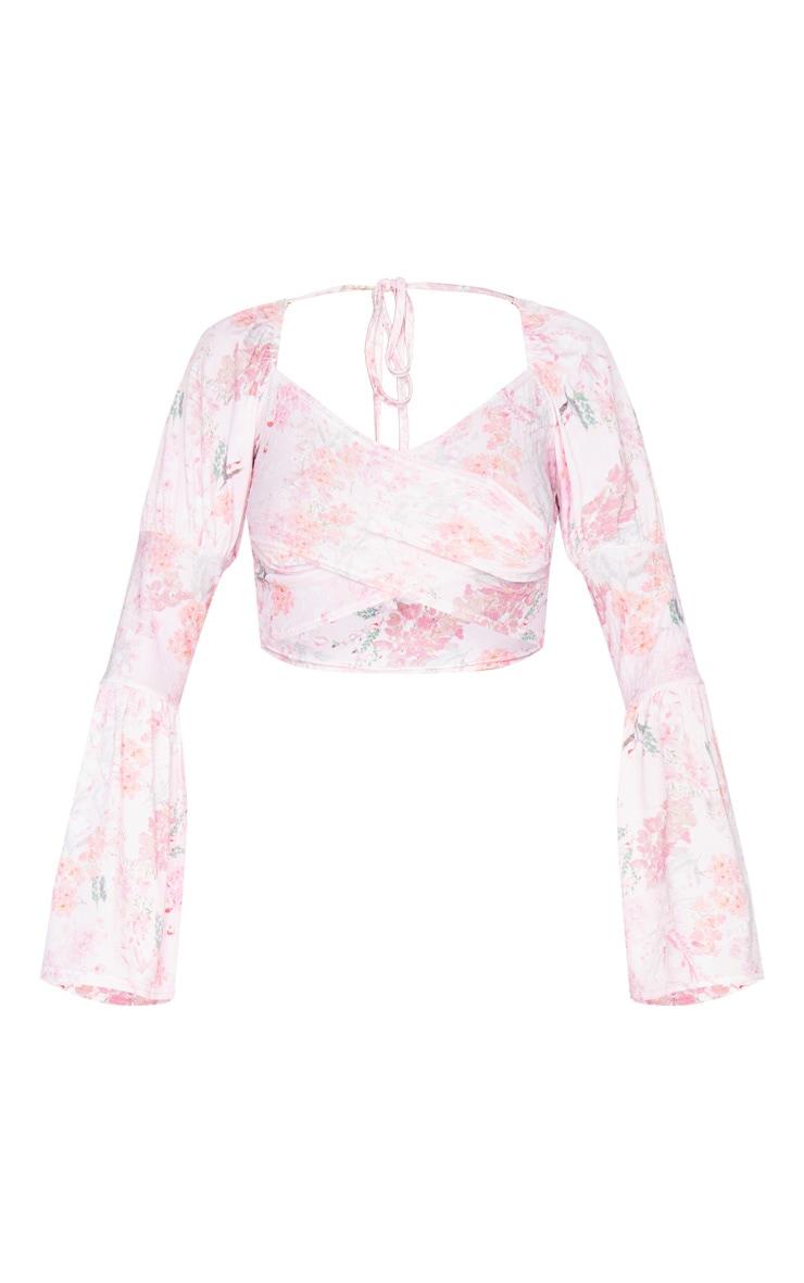 Pink Floral Print Shirred Long Sleeve Crop Top 5