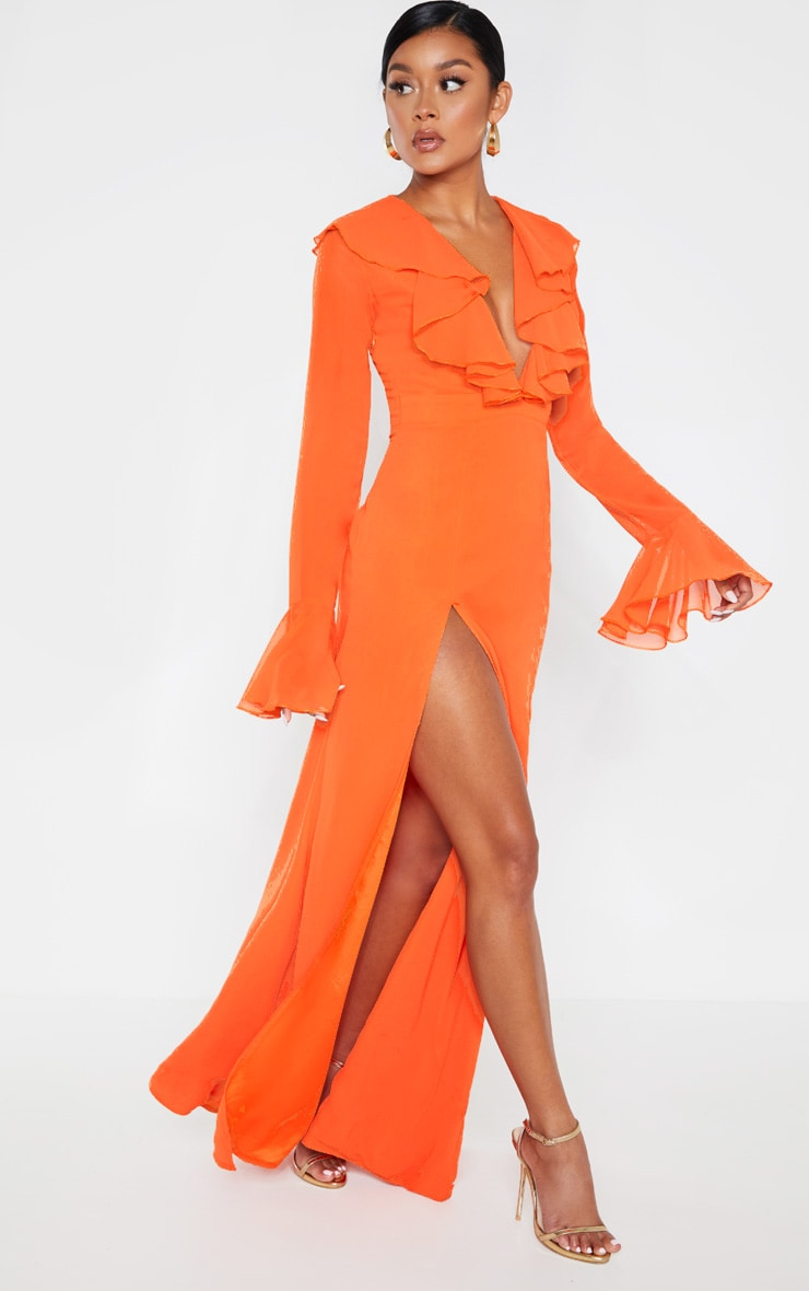 Bright Orange Plunge Frill Maxi Dress 1