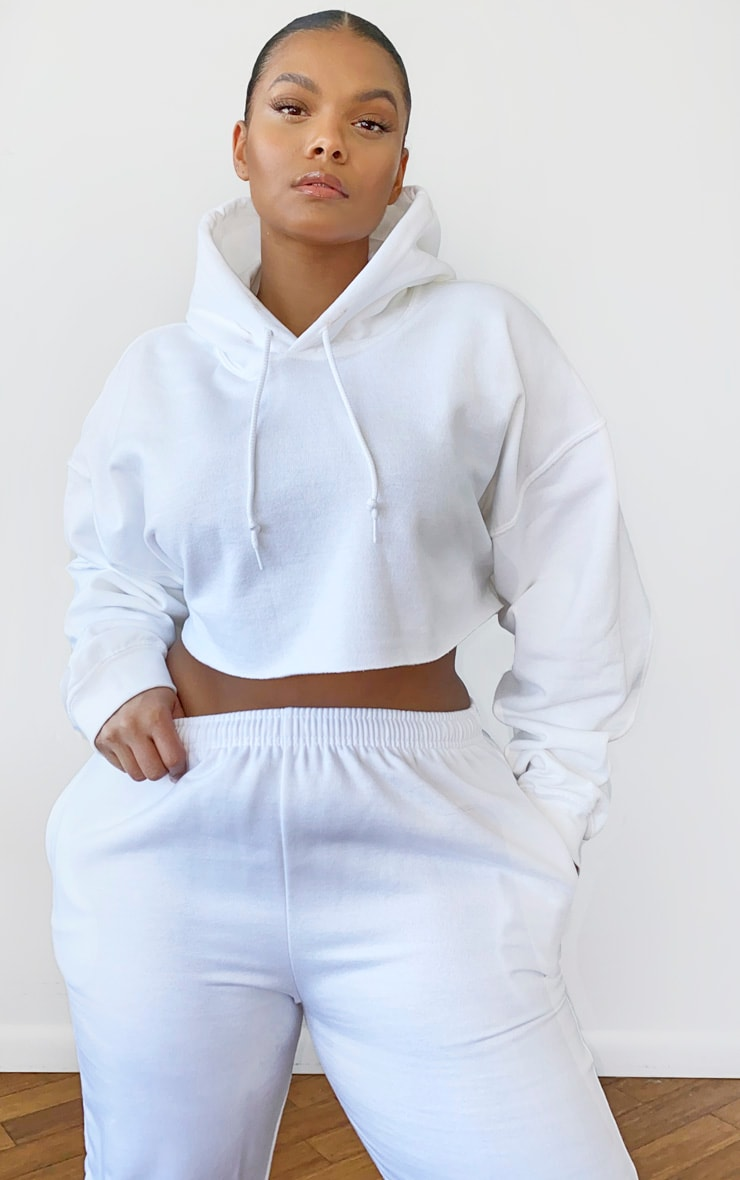 Plus White Ultimate Oversized Crop Hoodie 1