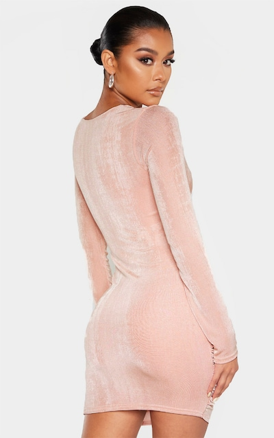Blush Textured Slinky Long Sleeve Knot Detail Bodycon Dress