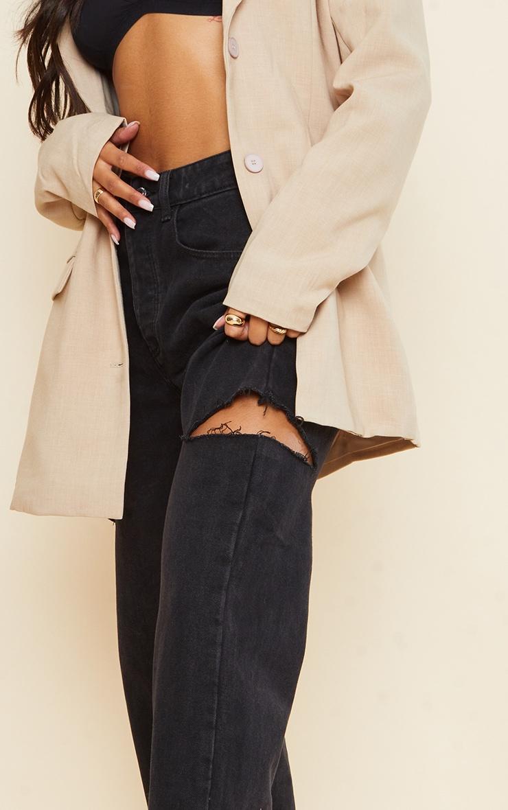 Washed Black Thigh Split Baggy Boyfriend Jeans 4