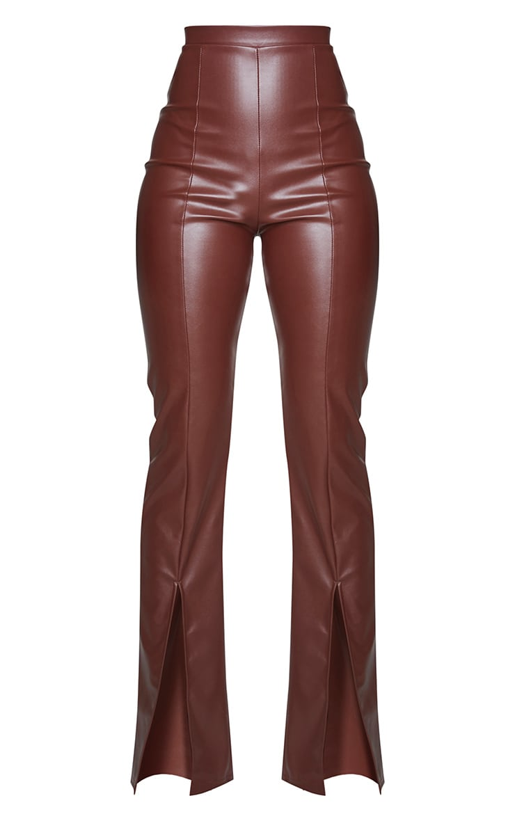 Chocolate Faux Leather Seam Detail Split Hem Pants 5