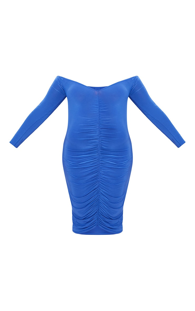 Plus Cobalt Bardot Bodycon Dress 3